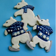 Skating Winter Polar Bear Christmas Cookies