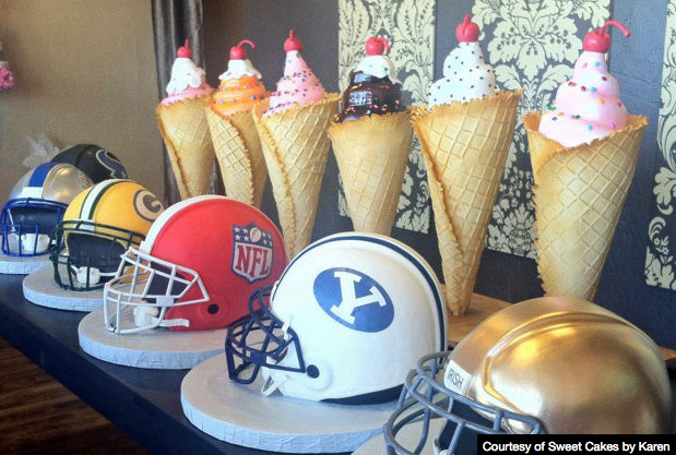Super Bowl Helmet Cakes