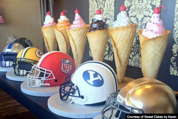 Super Bowl Helmet Cakes